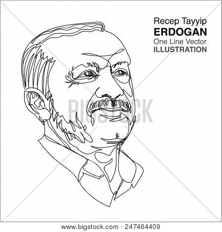 30 June 2018 : President Of Turkey President, Recep Tayyip Erdogan, One Line Drawing Portrait. Illus