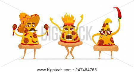 Cartoon Spicy Pizza Characters Slices. Mexican Pizza With Red Hot Chilly Pepper . Vector Illustratio