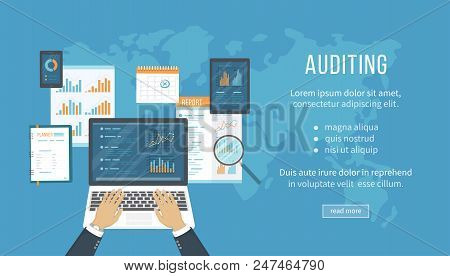 Concept Of Accounting, Analysis, Audit, Financial Report. Auditing Tax Process. Hands With Laptop, D