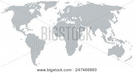 Map Of The World Made Of Gray Dots. Dotted Silhouette, Outline And Surface Of The Earth Under Robins