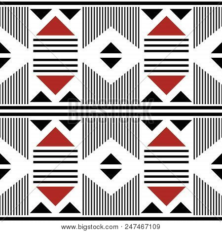 Seamless Modern Pattern Of Large Geometric Elements. Wide Stripes, Lines, Triangles. White, Black, R