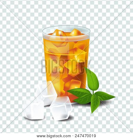 Real Style Vector Illustration Isolated On Transparent Background. Glass With Iced Tea With Ice Cube