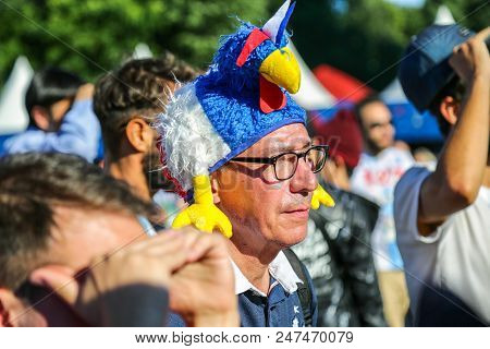 St. Petersburg, Russia - June 26, 2018: Supporter Of France National Football Team Watching Match At