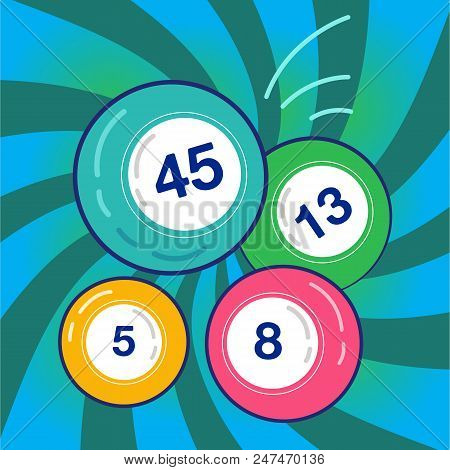 Lottery Balls On Colorful Background. Balls And Numbers Of Lotto Vector Design. Lotto Bingo Game Luc