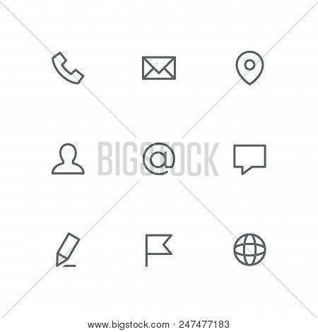 Basic Outline Icon Set - Phone, Envelope, Address Pointer, Man, Email, Chat, Pen, Flag And Globe Sym