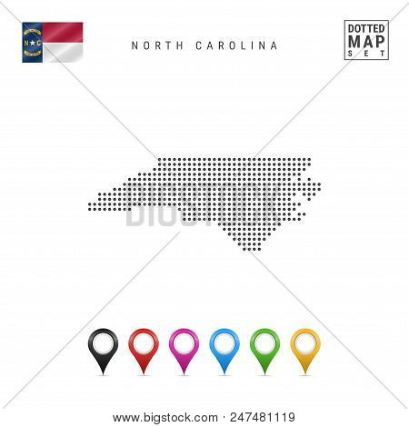 Dots Pattern Vector Map Of North Carolina. Stylized Simple Silhouette Of North Carolina. The Flag Of