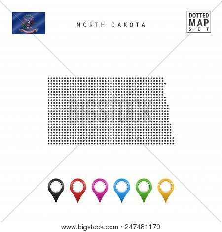 Dots Pattern Vector Map Of North Dakota. Stylized Simple Silhouette Of North Dakota. The Flag Of The