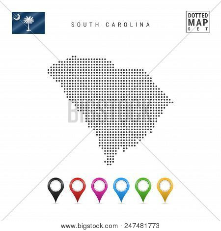 Dots Pattern Vector Map Of South Carolina. Stylized Simple Silhouette Of South Carolina. The Flag Of