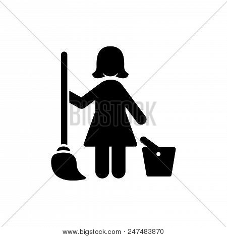 Cleaning Lady Vector Icon Flat Style Illustration For Web, Mobile, Logo, Application And Graphic Des