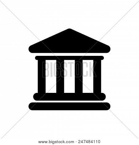 Bank Building Vector Icon Flat Style Illustration For Web, Mobile, Logo, Application And Graphic Des