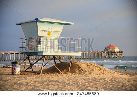 Huntington Beach, California/united States - January 26, 2015: A Lifeguard Tower On A Californian Be