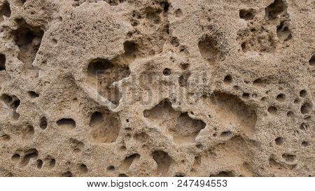 The Surface Of Low Density Sandstone Is Covered With Potholes