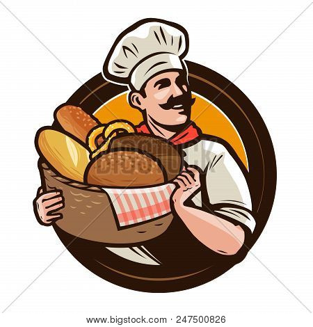 Bakery, Bakehouse Logo Or Label. Baker With A Wicker Basket Of Freshly Baked Bread. Vector