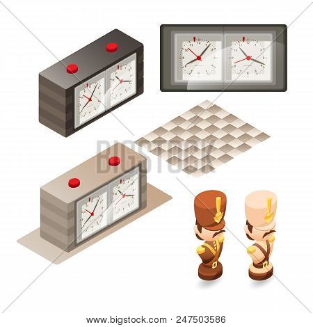Isometric Cartoon Chess Pieces Bishop.  Cute Chessman, Control Clock Isolated On White Background. V