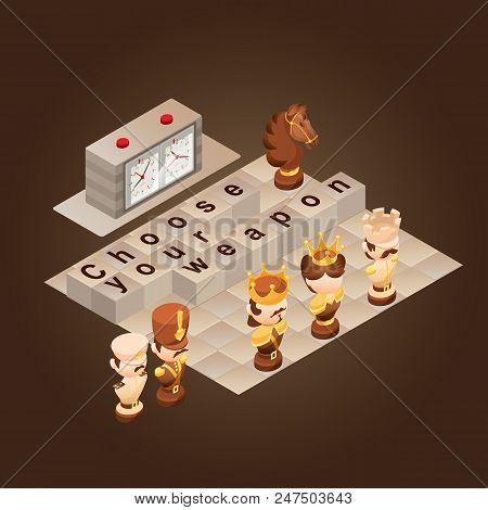 Choose Your Weapon. Isometric Cartoon Chess Pieces King, Queen, Bishop, Rook, Pawn, Knife.  Cute Che