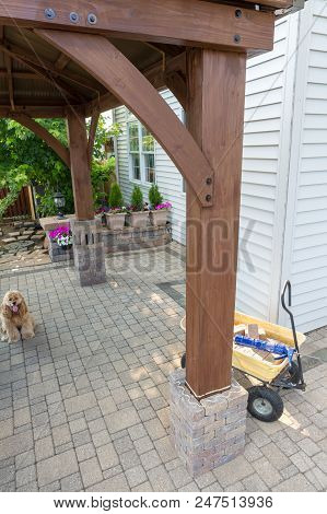 Diy Home Improvements Adding A Wooden Gazebo On An Exterior Paved Patio Building A Brick Pillar Arou