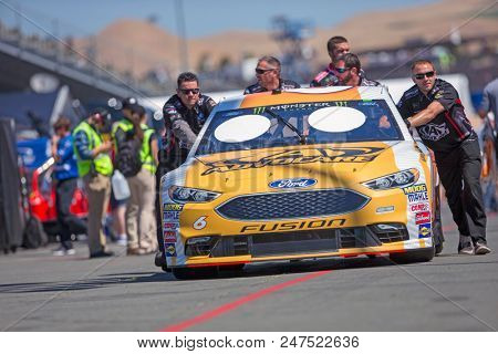 June 22, 2018 - Sonoma, California , USA: Trevor Bayne (6) Gets ready to practice for the TOYOTA/SAVE MART 350 at Sonoma Raceway in Sonoma, California .