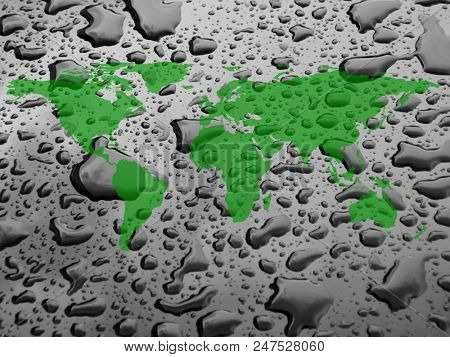 an image of worldmap and water drops