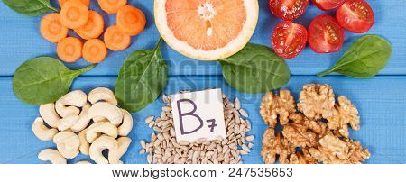 Nutritious different ingredients containing vitamin B7, dietary fiber and natural minerals, healthy nutrition concept poster
