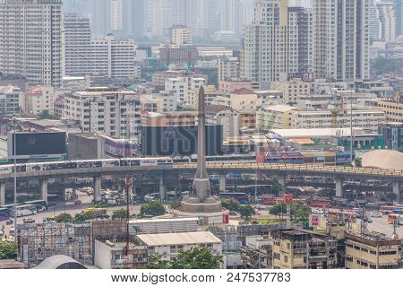 Cityscape And Victory Monument In Bangkok Thailand