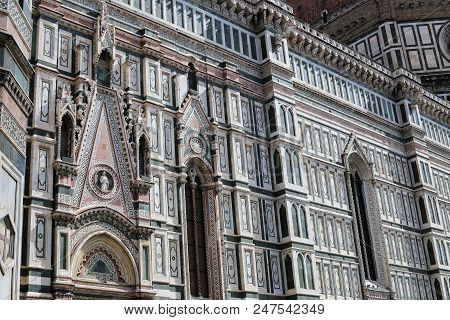 Amazing Exterior Of Florence Cathedral In Italy. Concept Of Religion Architecure And Landmarks Of Eu