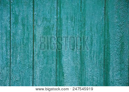 Gray Green Wooden Texture Of Wide Boards On The Wall