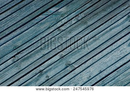 Blue Gray Wooden Texture Of Thin Boards On The Wall