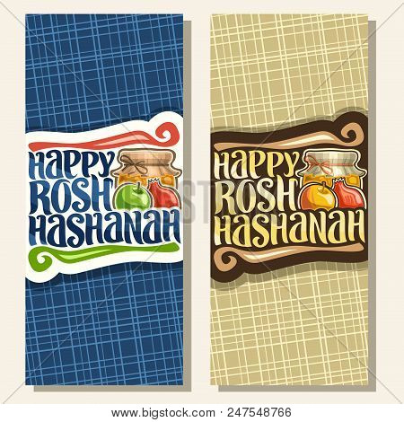 Vector Vertical Banners For Jewish Holiday Rosh Hashanah, On Layout Festive Healthy Food - Autumn Ho