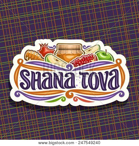 Vector Logo For Jewish Holiday Rosh Hashanah, Cut Paper Sign With Autumn Honey In Pot, Wooden Stick,