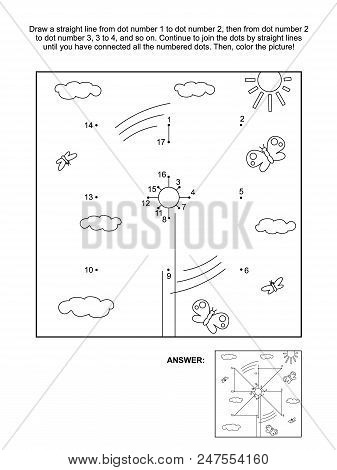 Connect The Dots Picture Puzzle And Coloring Page With Pinwheel. Answer Included.