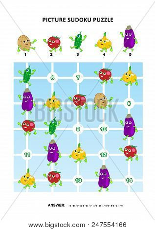 Picture Sudoku Puzzle 5x5 (one Block) With Vegetables - Potato, Tomato, Cucumber, Onion, Eggplant. A