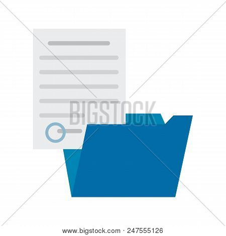 Blue Folder And Sheet Of Paper, Colorful Poster, Vector Illustration Isolated On Bright Backdrop, Ab