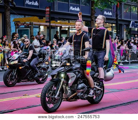 Gay Pride Parade In San Francisco - Dykes On Bikes Lead The Parade