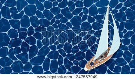 Sailing Ship Banner. Top View Sail Boat On Deep Blue Sea Water. Luxury Yacht Race, Ocean Sailing Reg