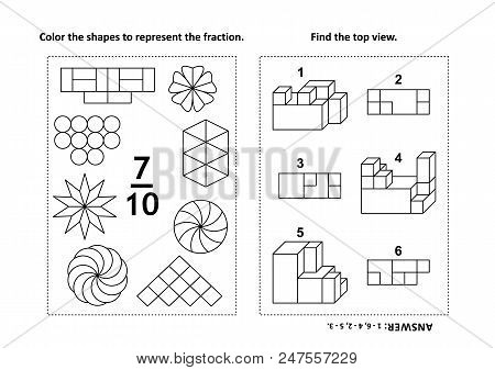 Two visual math puzzles and coloring pages. Color the shapes to represent the fraction. Find the top view. Black and white. Answers included. poster