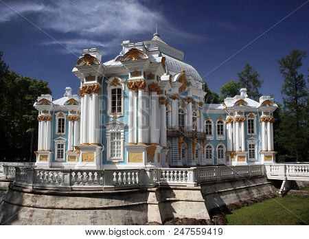 Pushkin, Russia - June 126, 2018: Beautiful View Of The Famous Hermitage Pavilion In The Catherine P