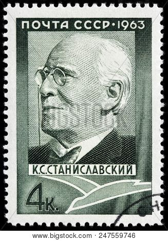 Luga, Russia - June 07, 2018: A Stamp Printed By Russia (ussr) Shows Image Portrait Of Seminal Russi