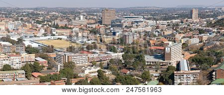 Bloemfontein, South Africa, June 27, 2018: Panorama Of Part Of Bloemfontein Cbd, As Seen From Naval