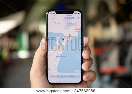 Koh Samui, Thailand - April 15, 2018: Man Hands Holding Iphone X With Application Cartographical Ser