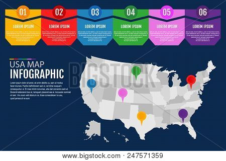 map of united states of america infographics template vector illustration flat design
