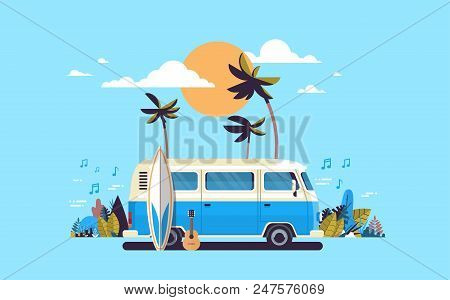 Summer Vacation Surf Bus Sunset Tropical Beach Retro Surfing Vintage Melody Greeting Card Horizontal