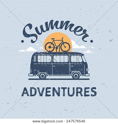 Summer Adventures Surf Bus Bike Retro Surfing Vintage Greeting Card With Lettering Template Poster F