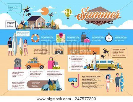 Set Summer Vacation Infographic Shedule Surf Bus Tropical Beach Retro Car Man Woman Surfing Board Vi