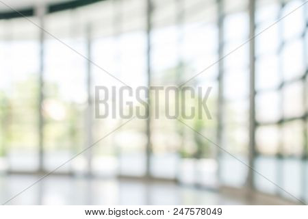 Business Building Blur Background Office Lobby Hall Interior Of White Empty Room With Blurry Light F