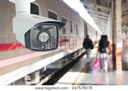 Cctv Surveillance Camera At Railway Station.security System Camera For Protecting People From Crime.