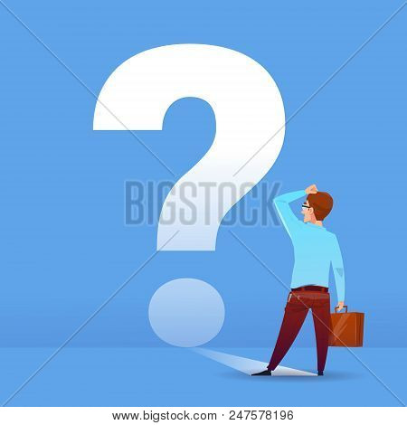 Businessman Thinking Question Mark Ponder Problem Business Financial Concept On Blue Background Flat
