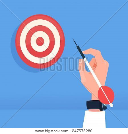 Human Hand Holding Arrow Hit Target Dartboard Successful Goal Concept Flat Vector Illustration
