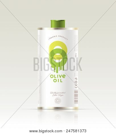 Logo Of Olive Oil. Transparent Double Letters O With Dripping Oil. Packaging, Metal Can With Lid. Ex