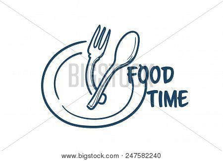 Food Time Plate With Spoon Fork Prepare For Eating Concept On White Background Sketch Doodle Vector