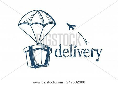 Package With Parachute Fast Delivery Service Concept Free Air Shipping Flying Plane On White Backgro